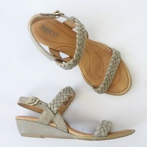 Born Pernilla Beige Braided Suede Wedge Sandals 7